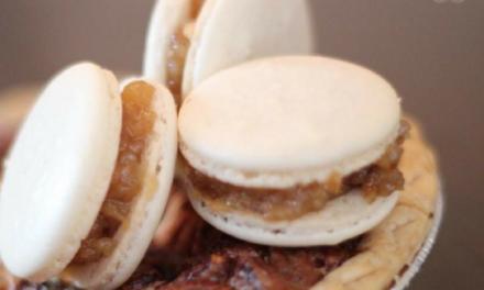 Double-Decker Pecan Cheesecake Pie with Pecan Pie Macarons by Erika Knox