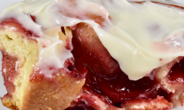 Strawberry Cinnamon Rolls with Cream Cheese Glaze by Latorra Garland