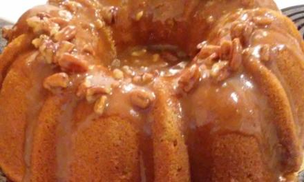 Sweet Potato Sour Cream Pound Cake with Maple Pecan Praline Sauce by Kenny Gnatt