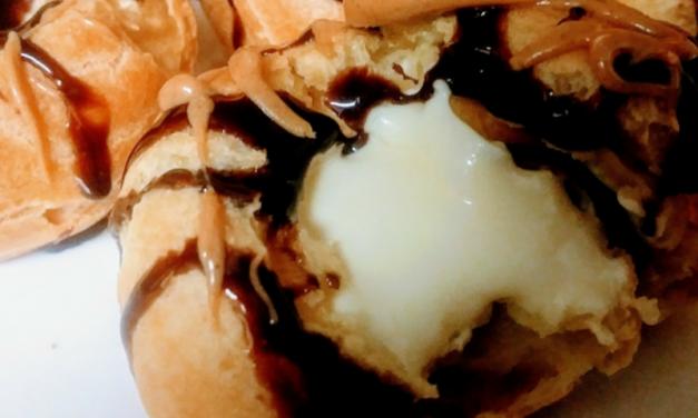Chocolate Peanut Drizzle Cream Puffs by Khema Joseph